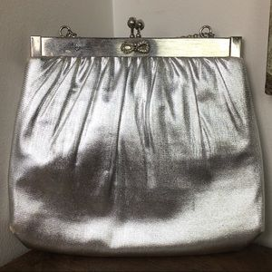 Vintage Evening Bag Pin Up Rockabilly Silver Lame